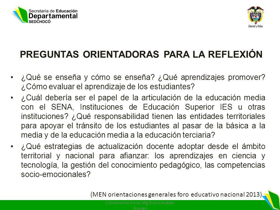 PREGUNTAS ORIENTADORAS PARA LA REFLEXIÓN