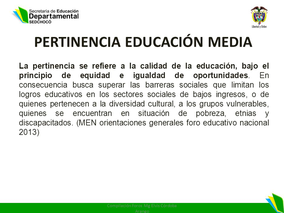 PERTINENCIA EDUCACIÓN MEDIA