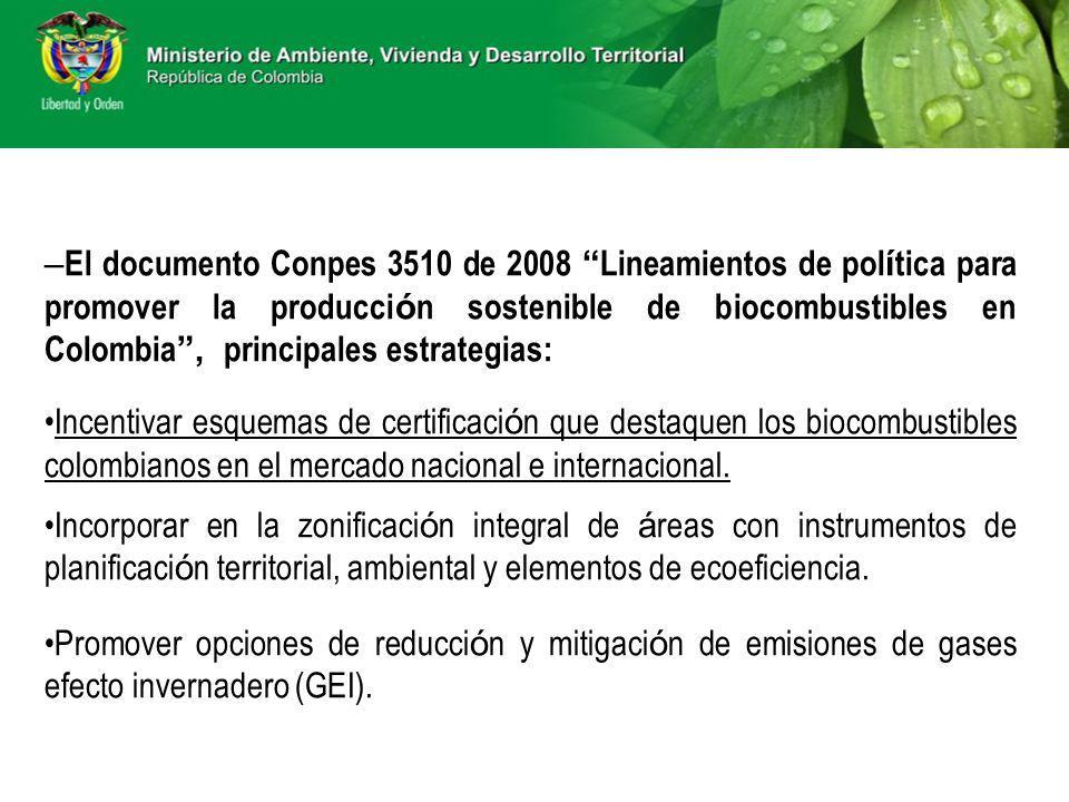 El documento Conpes 3510 de 2008 Lineamientos de política para promover la producción sostenible de biocombustibles en Colombia , principales estrategias: