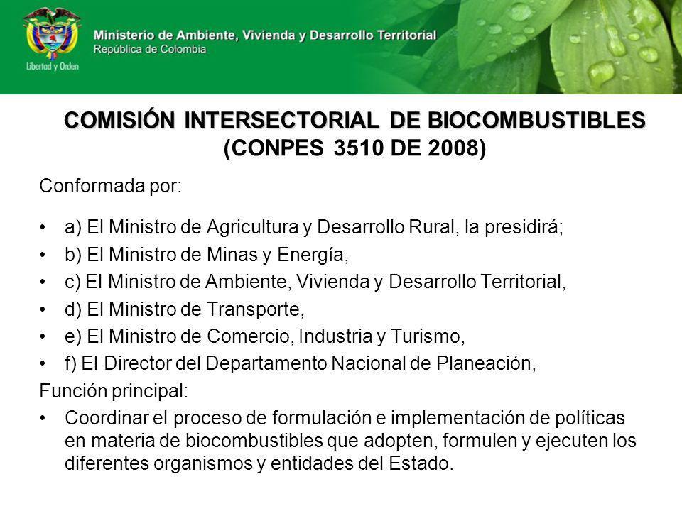 COMISIÓN INTERSECTORIAL DE BIOCOMBUSTIBLES (CONPES 3510 DE 2008)