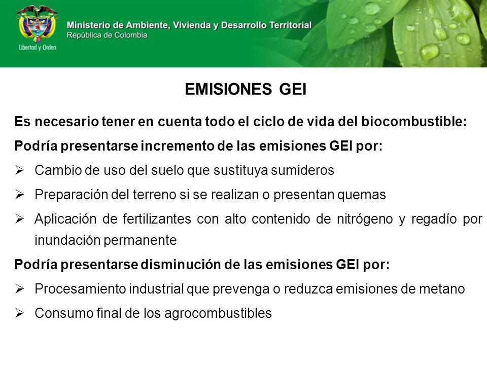 EMISIONES GEI Es necesario tener en cuenta todo el ciclo de vida del biocombustible: Podría presentarse incremento de las emisiones GEI por: