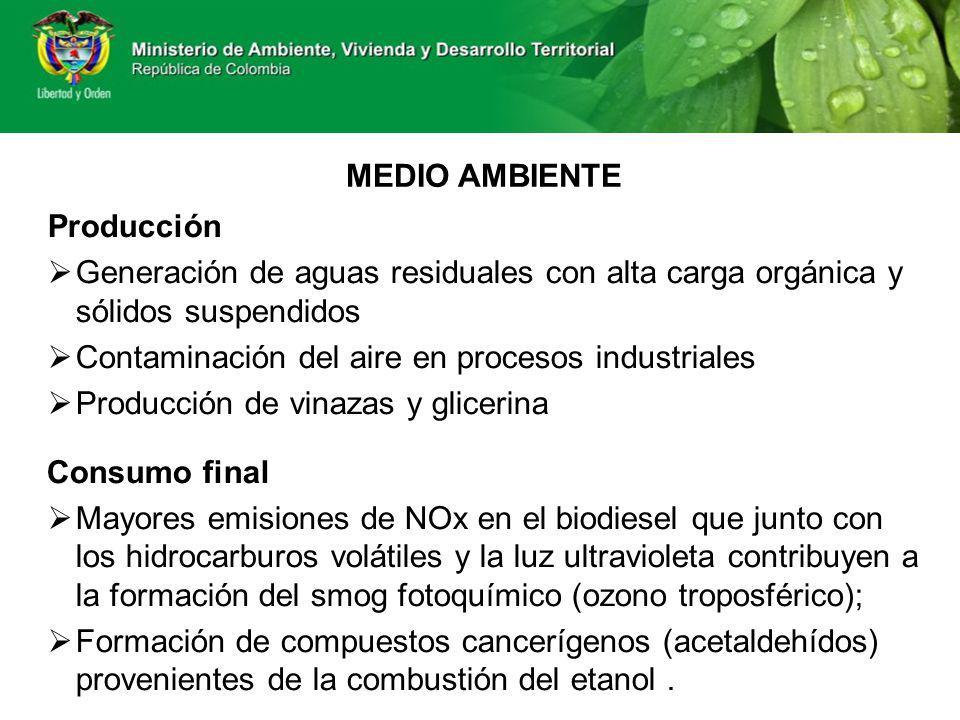 MEDIO AMBIENTE Producción. Generación de aguas residuales con alta carga orgánica y sólidos suspendidos.
