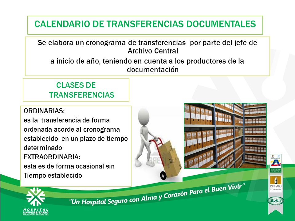 CALENDARIO DE TRANSFERENCIAS DOCUMENTALES
