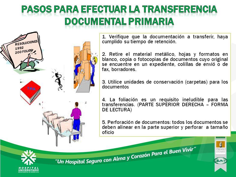 PASOS PARA EFECTUAR LA TRANSFERENCIA DOCUMENTAL PRIMARIA
