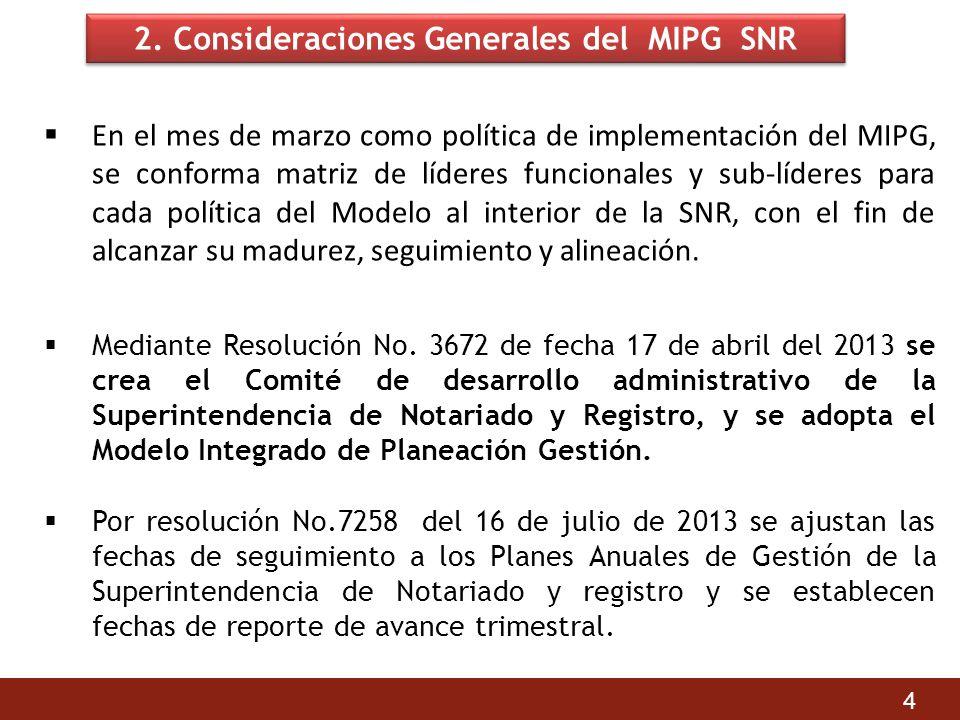 2. Consideraciones Generales del MIPG SNR