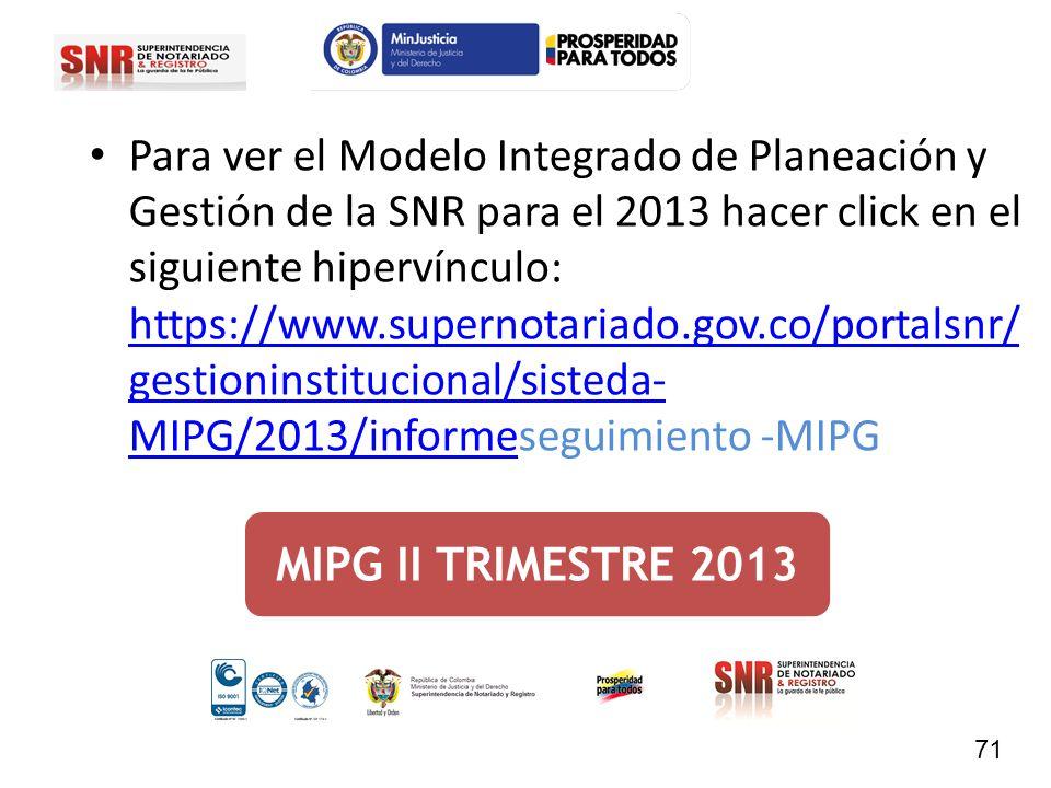 Para ver el Modelo Integrado de Planeación y Gestión de la SNR para el 2013 hacer click en el siguiente hipervínculo: https://www.supernotariado.gov.co/portalsnr/gestioninstitucional/sisteda-MIPG/2013/informeseguimiento -MIPG
