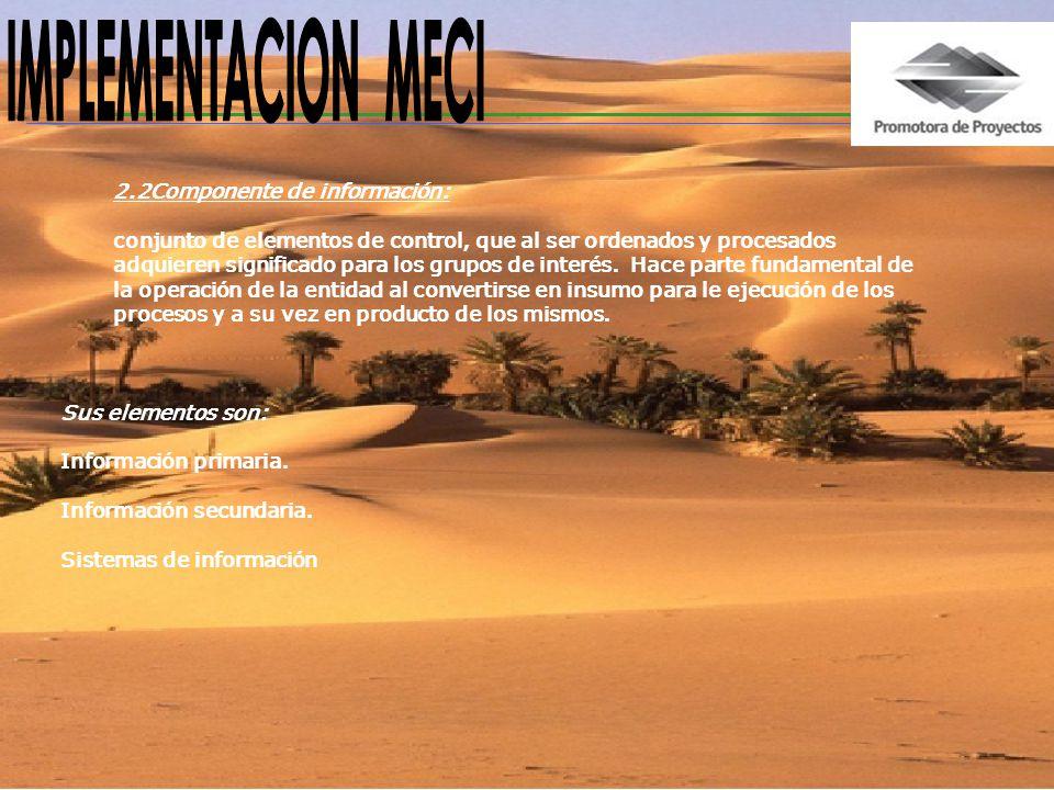 IMPLEMENTACION MECI 2.2Componente de información: