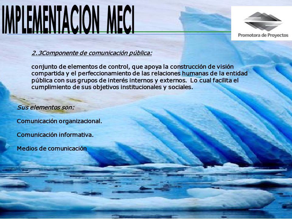 IMPLEMENTACION MECI 2.3Componente de comunicación pública: