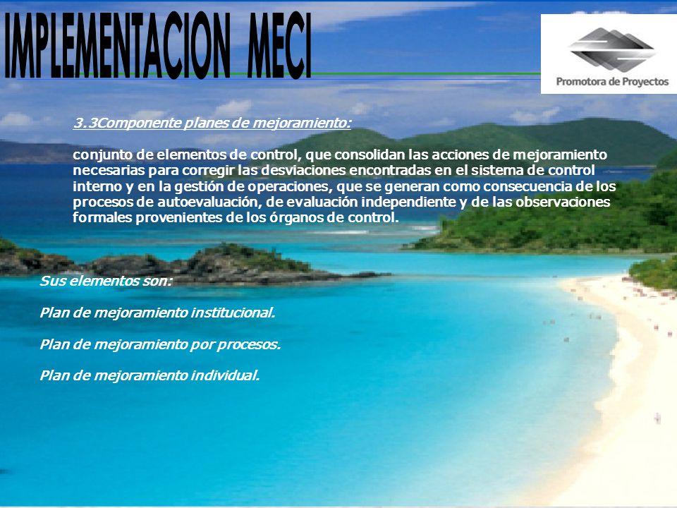 IMPLEMENTACION MECI 3.3Componente planes de mejoramiento: