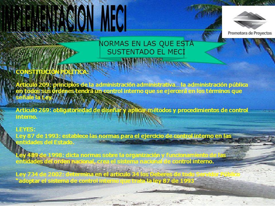 IMPLEMENTACION MECI NORMAS EN LAS QUE ESTÀ SUSTENTADO EL MECI