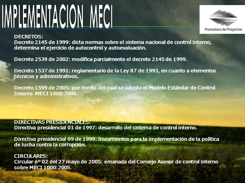 IMPLEMENTACION MECI DECRETOS:
