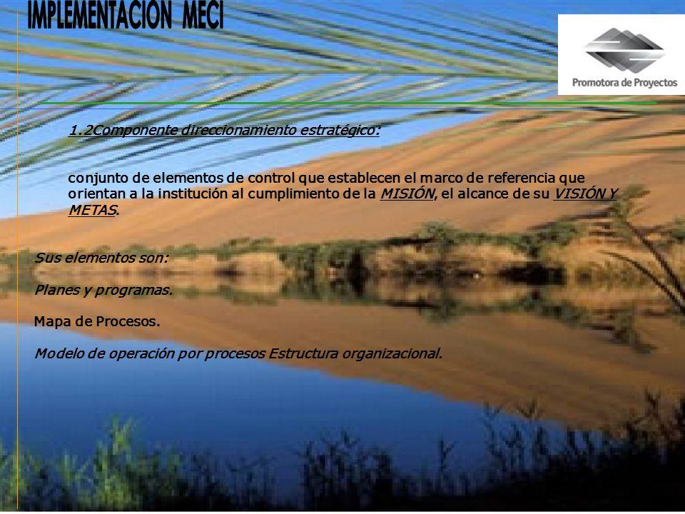 IMPLEMENTACION MECI 1.2Componente direccionamiento estratégico: