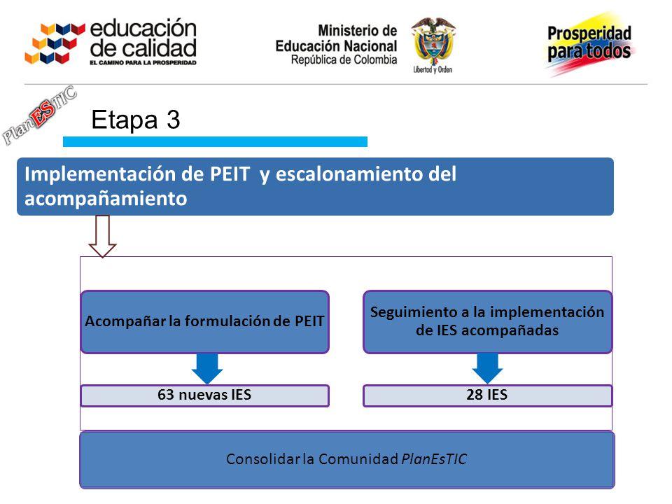 Etapa 3 Implementación de PEIT y escalonamiento del acompañamiento