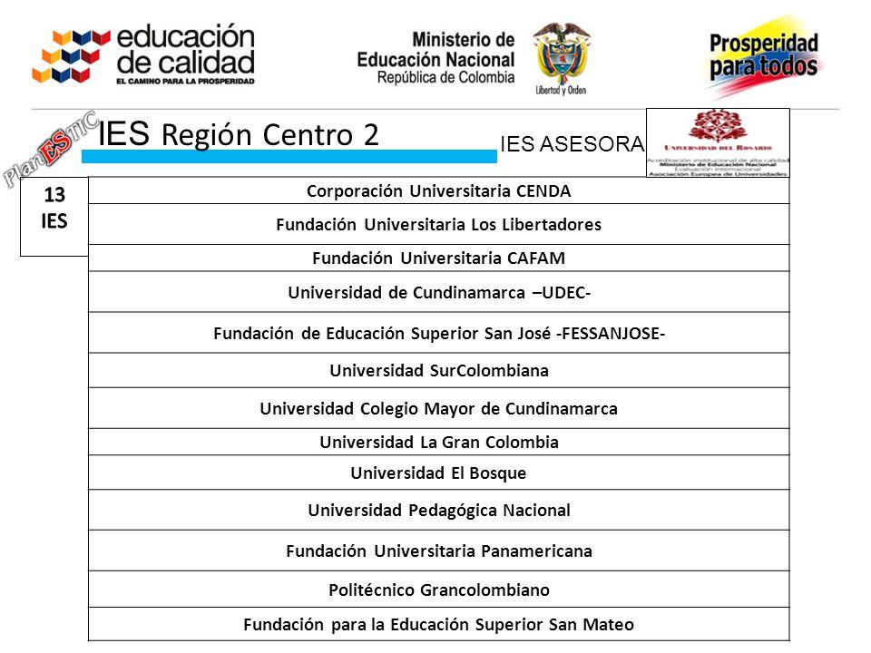 IES Región Centro 2 IES ASESORA 13 IES Corporación Universitaria CENDA