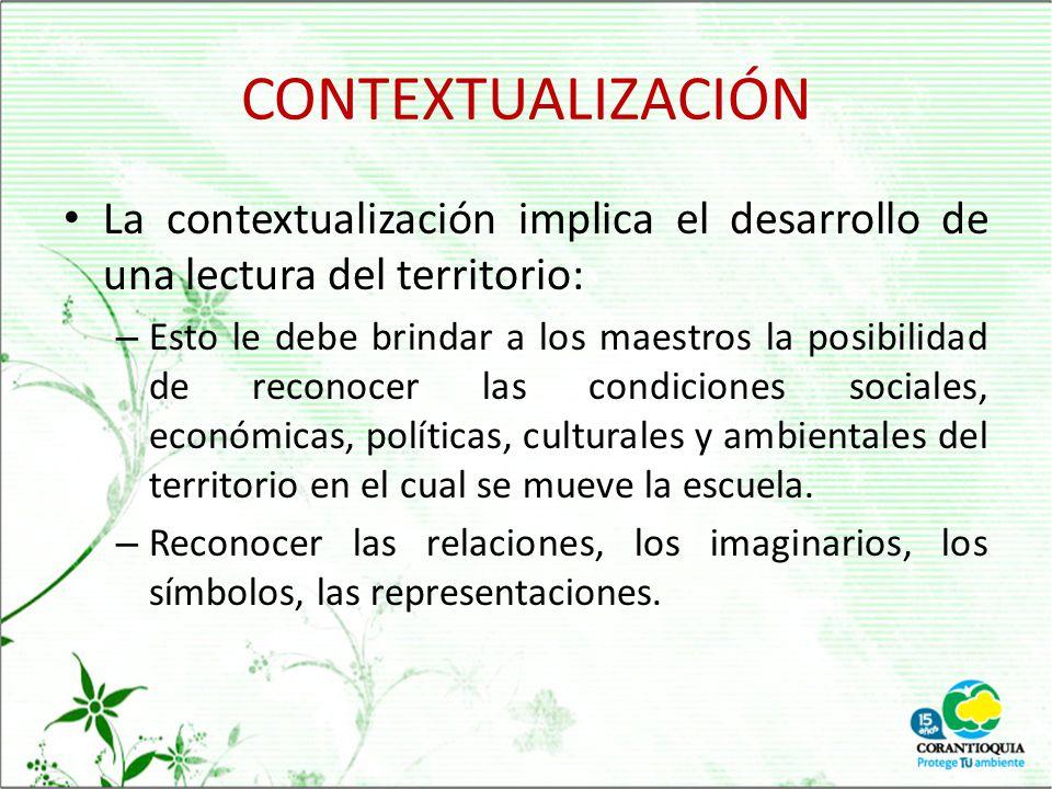 CONTEXTUALIZACIÓN La contextualización implica el desarrollo de una lectura del territorio:
