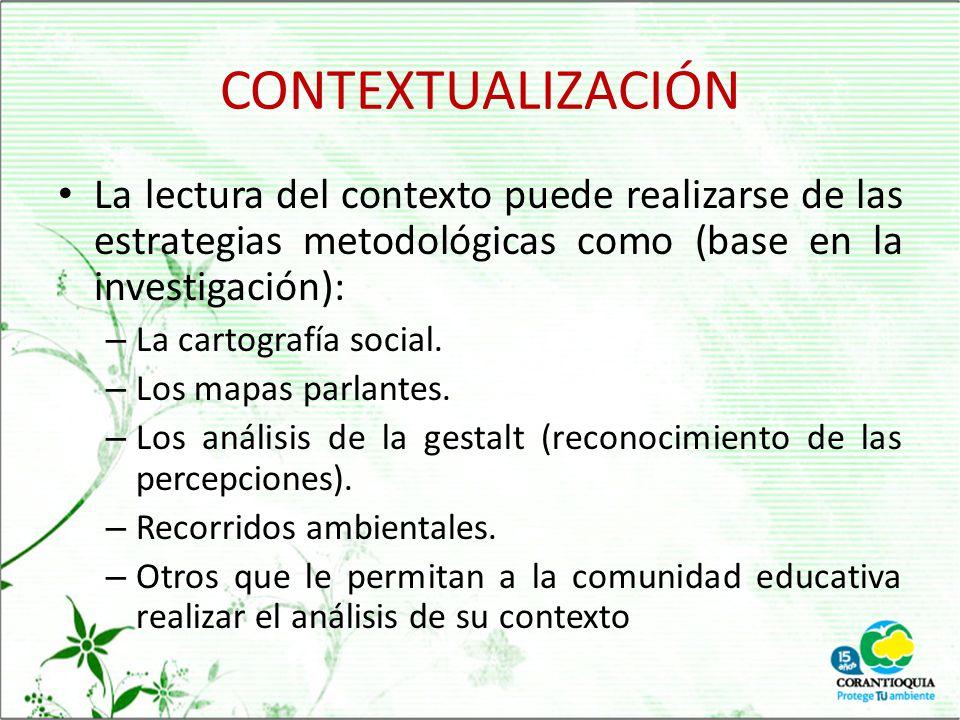 CONTEXTUALIZACIÓN La lectura del contexto puede realizarse de las estrategias metodológicas como (base en la investigación):