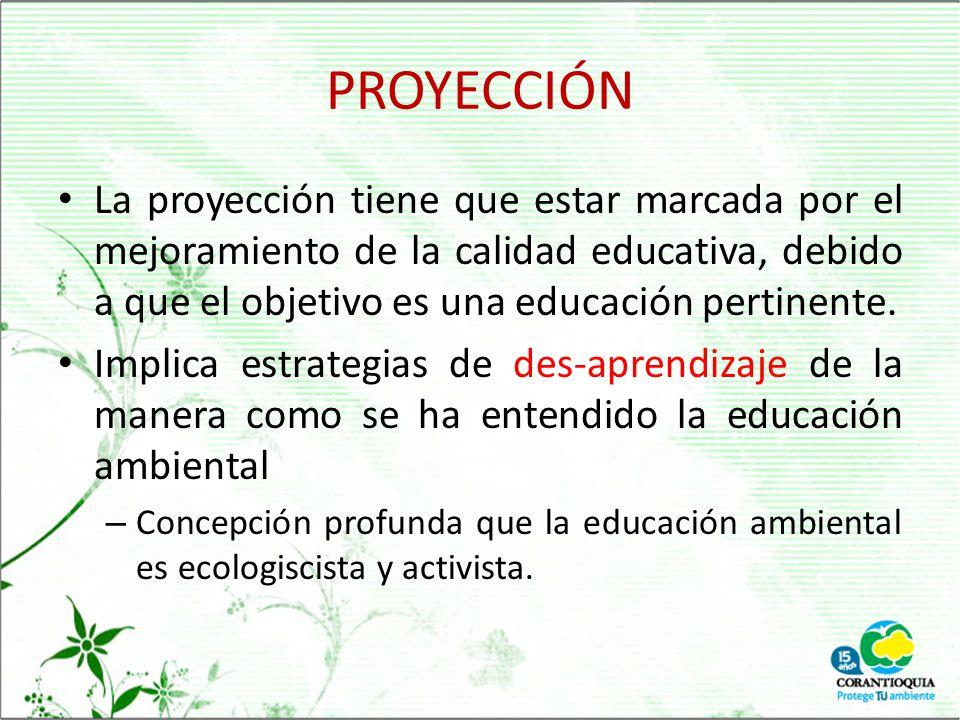 PROYECCIÓN La proyección tiene que estar marcada por el mejoramiento de la calidad educativa, debido a que el objetivo es una educación pertinente.