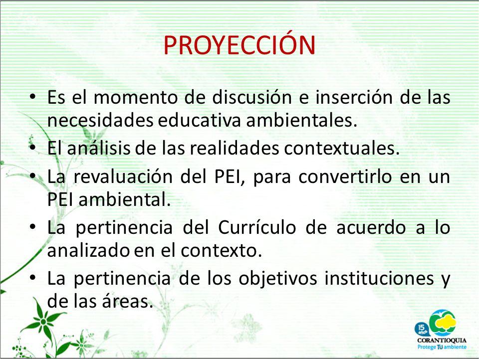 PROYECCIÓN Es el momento de discusión e inserción de las necesidades educativa ambientales. El análisis de las realidades contextuales.