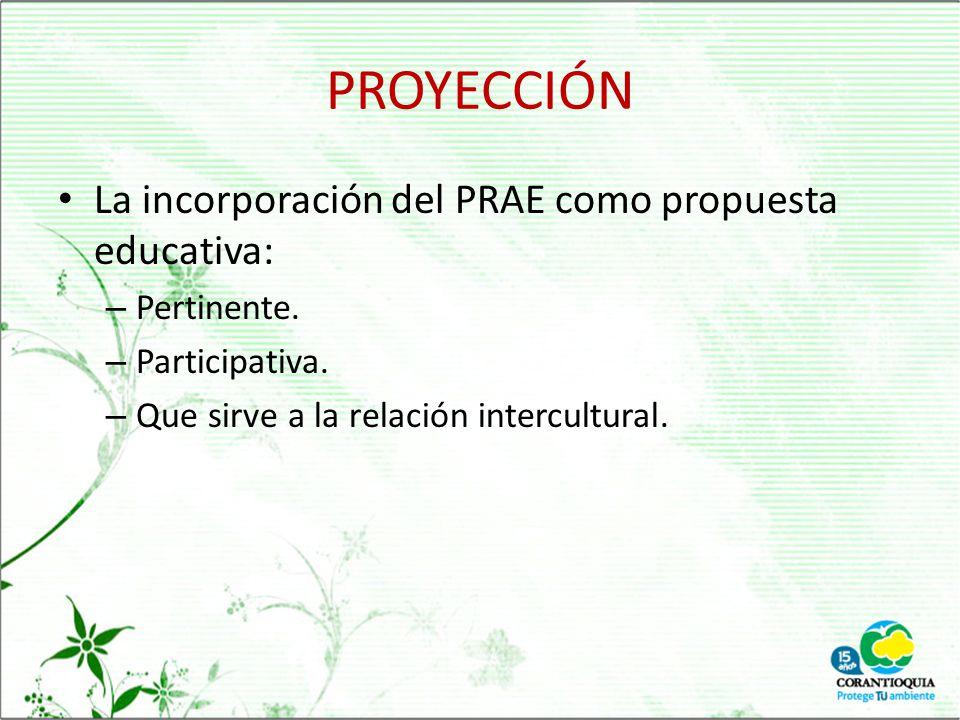 PROYECCIÓN La incorporación del PRAE como propuesta educativa: