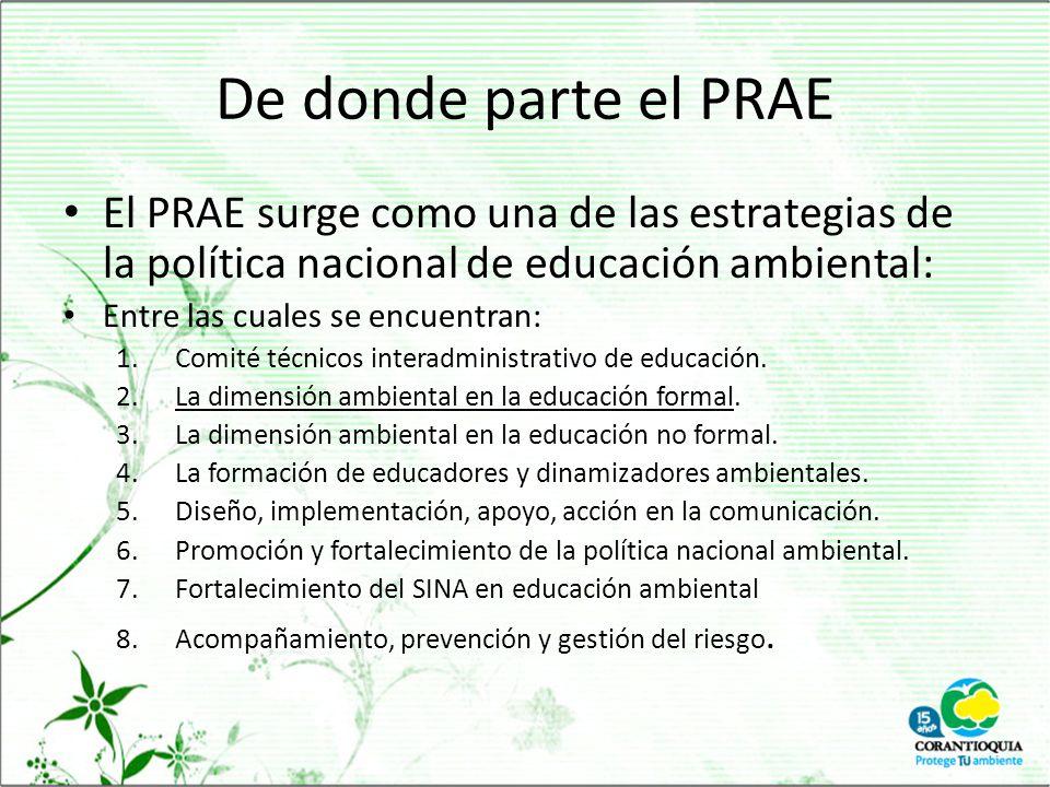 De donde parte el PRAE El PRAE surge como una de las estrategias de la política nacional de educación ambiental: