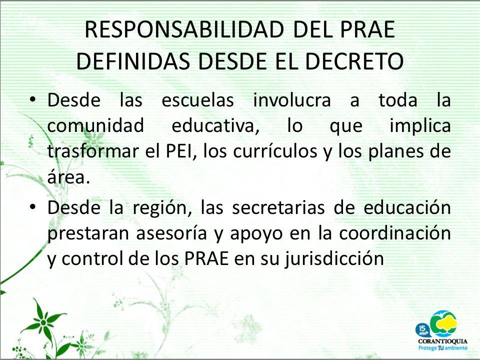RESPONSABILIDAD DEL PRAE DEFINIDAS DESDE EL DECRETO