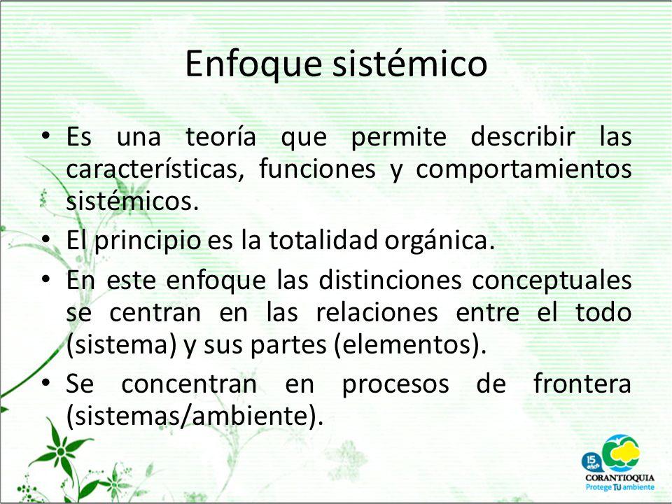 Enfoque sistémico Es una teoría que permite describir las características, funciones y comportamientos sistémicos.