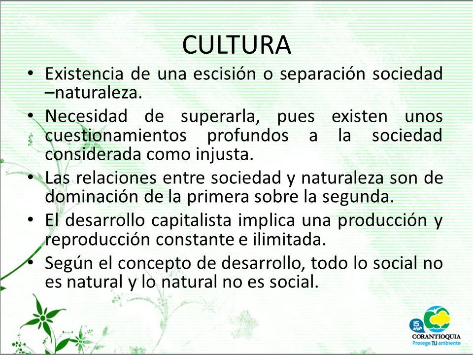 CULTURA Existencia de una escisión o separación sociedad –naturaleza.