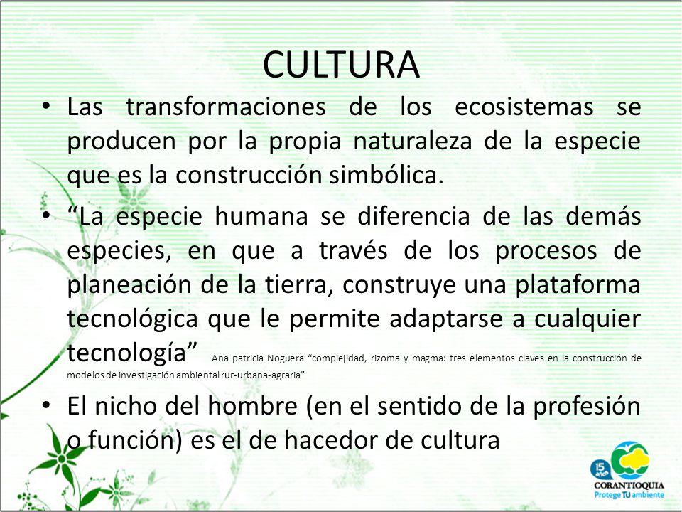 CULTURA Las transformaciones de los ecosistemas se producen por la propia naturaleza de la especie que es la construcción simbólica.
