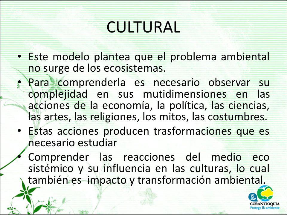 CULTURAL Este modelo plantea que el problema ambiental no surge de los ecosistemas.