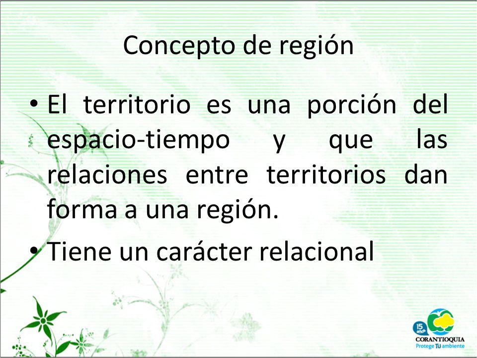 Concepto de región El territorio es una porción del espacio-tiempo y que las relaciones entre territorios dan forma a una región.