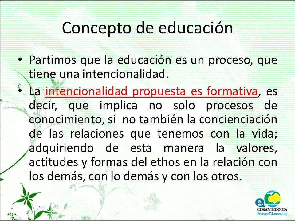 Concepto de educación Partimos que la educación es un proceso, que tiene una intencionalidad.