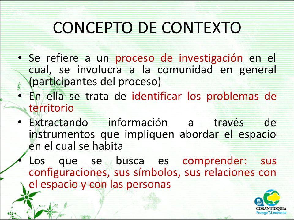 CONCEPTO DE CONTEXTO Se refiere a un proceso de investigación en el cual, se involucra a la comunidad en general (participantes del proceso)