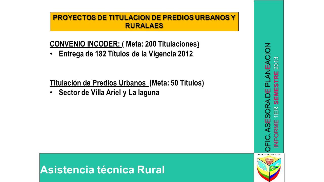 PROYECTOS DE TITULACION DE PREDIOS URBANOS Y RURALAES