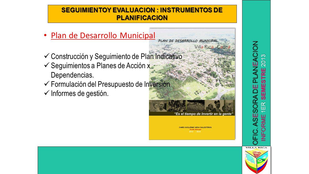 SEGUIMIENTOY EVALUACION : INSTRUMENTOS DE PLANIFICACION