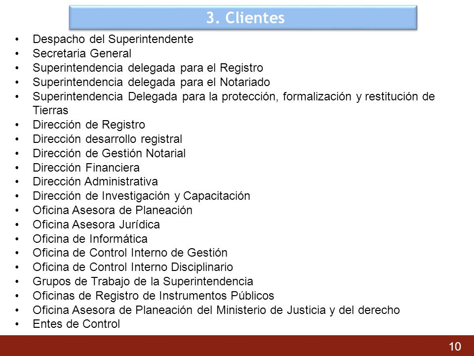 3. Clientes Despacho del Superintendente Secretaria General