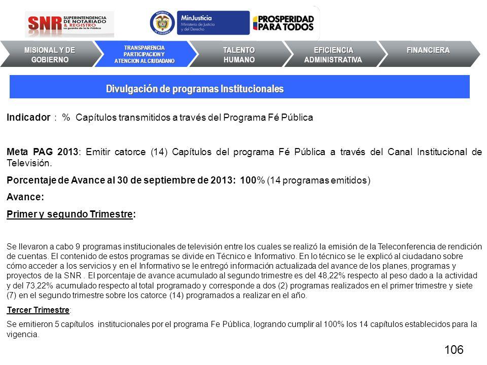 106 Divulgación de programas Institucionales