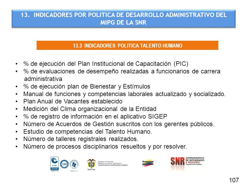 13.3 INDICADORES POLITICA TALENTO HUMANO
