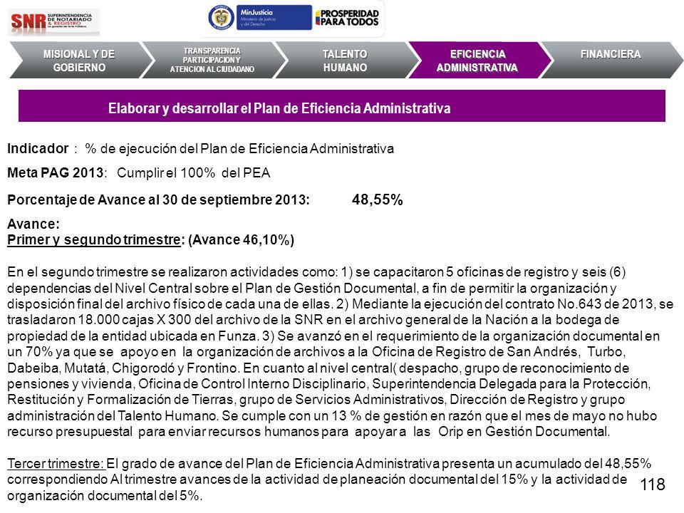 118 Elaborar y desarrollar el Plan de Eficiencia Administrativa
