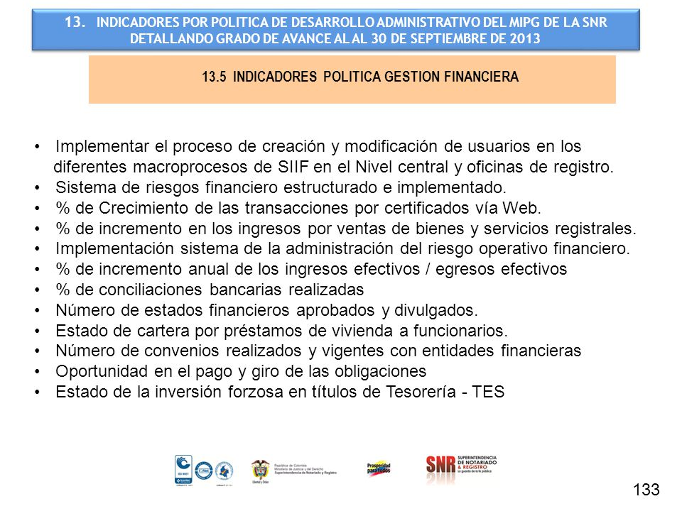 13.5 INDICADORES POLITICA GESTION FINANCIERA
