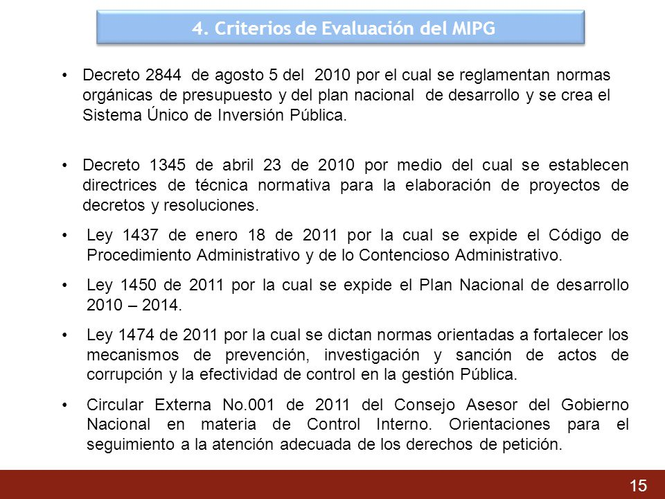 4. Criterios de Evaluación del MIPG