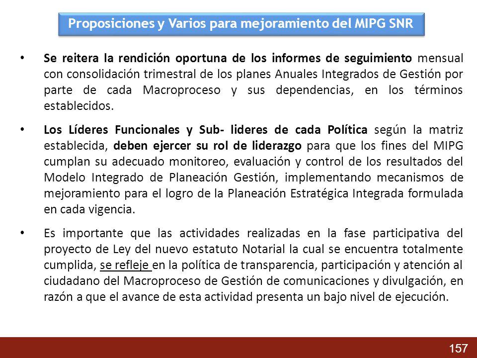 Proposiciones y Varios para mejoramiento del MIPG SNR