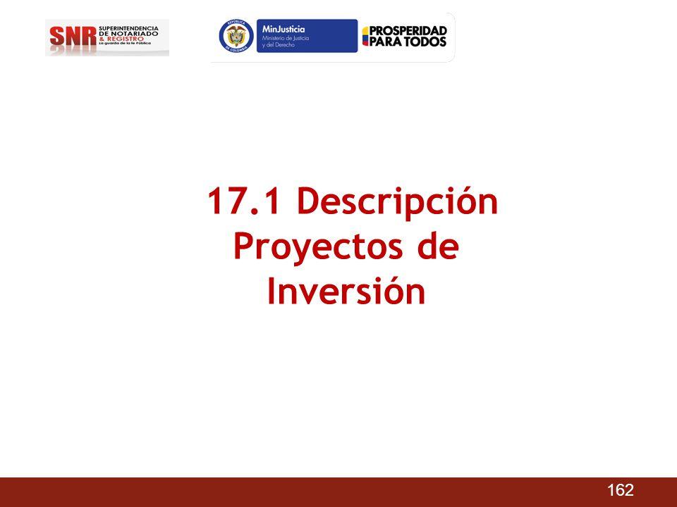 17.1 Descripción Proyectos de Inversión