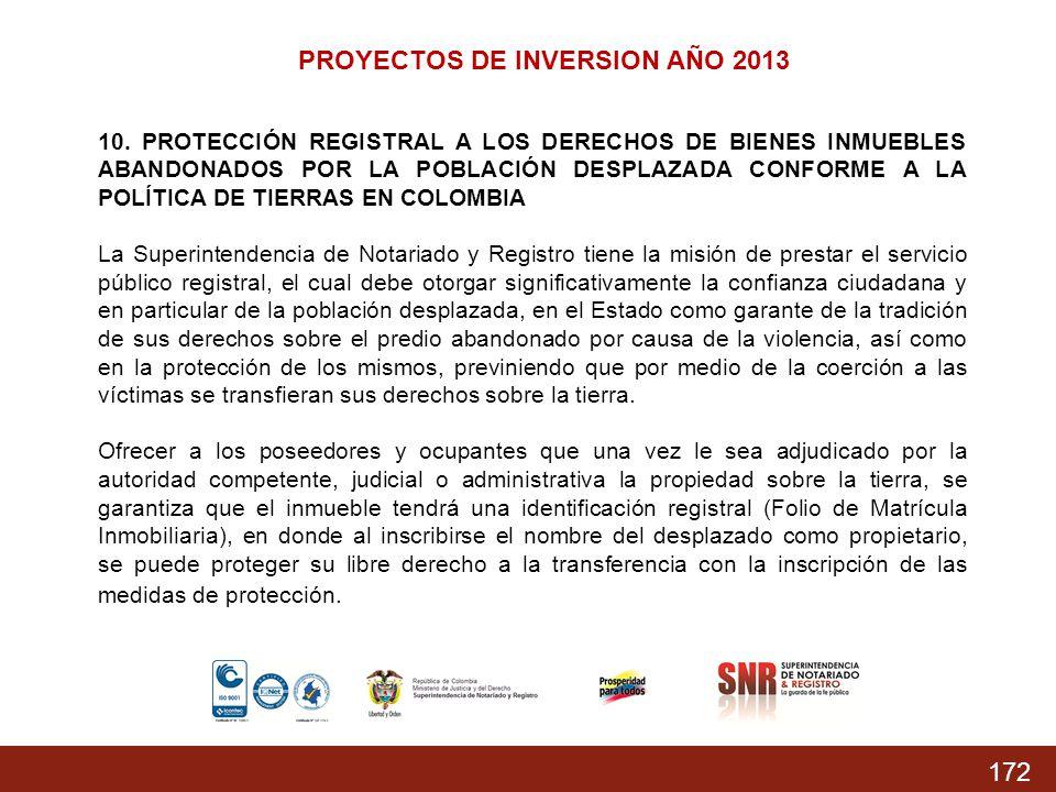 PROYECTOS DE INVERSION AÑO 2013