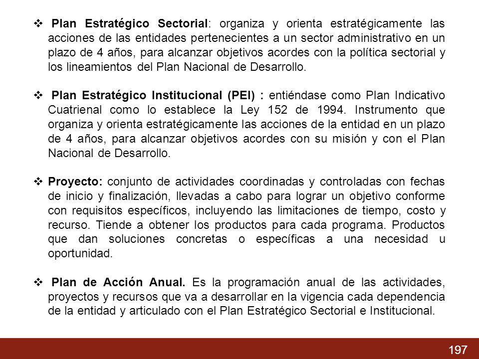 Plan Estratégico Sectorial: organiza y orienta estratégicamente las acciones de las entidades pertenecientes a un sector administrativo en un plazo de 4 años, para alcanzar objetivos acordes con la política sectorial y los lineamientos del Plan Nacional de Desarrollo.