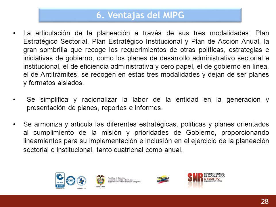 6. Ventajas del MIPG