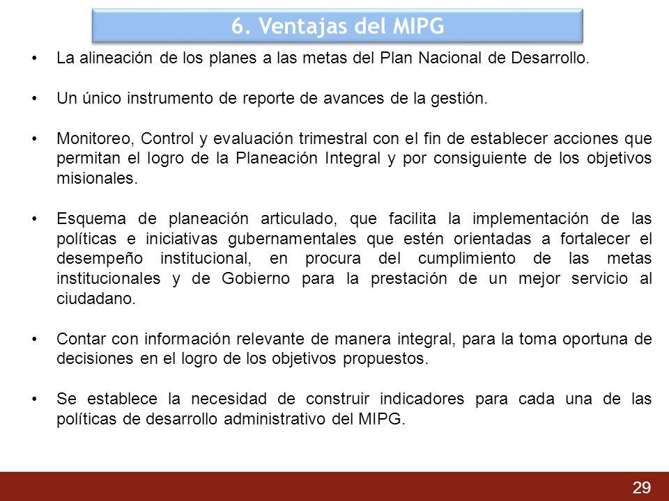 6. Ventajas del MIPG La alineación de los planes a las metas del Plan Nacional de Desarrollo.
