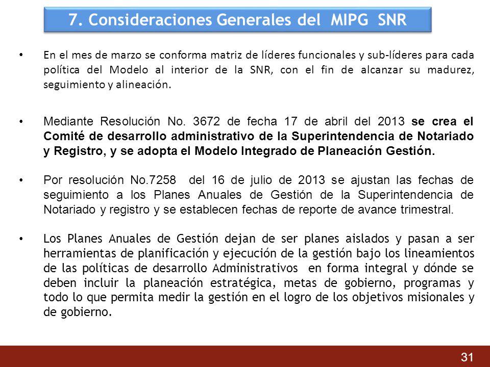 7. Consideraciones Generales del MIPG SNR