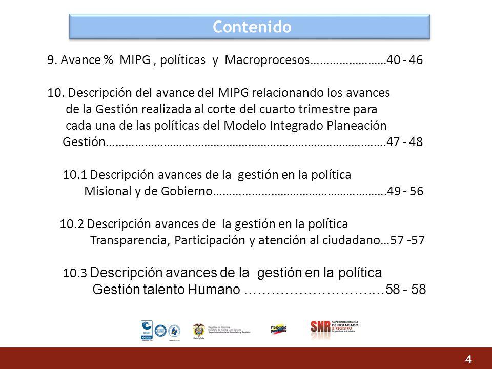 Contenido 9. Avance % MIPG , políticas y Macroprocesos……………………40 - 46