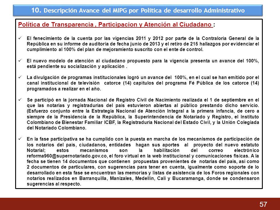 10. Descripción Avance del MIPG por Política de desarrollo Administrativo