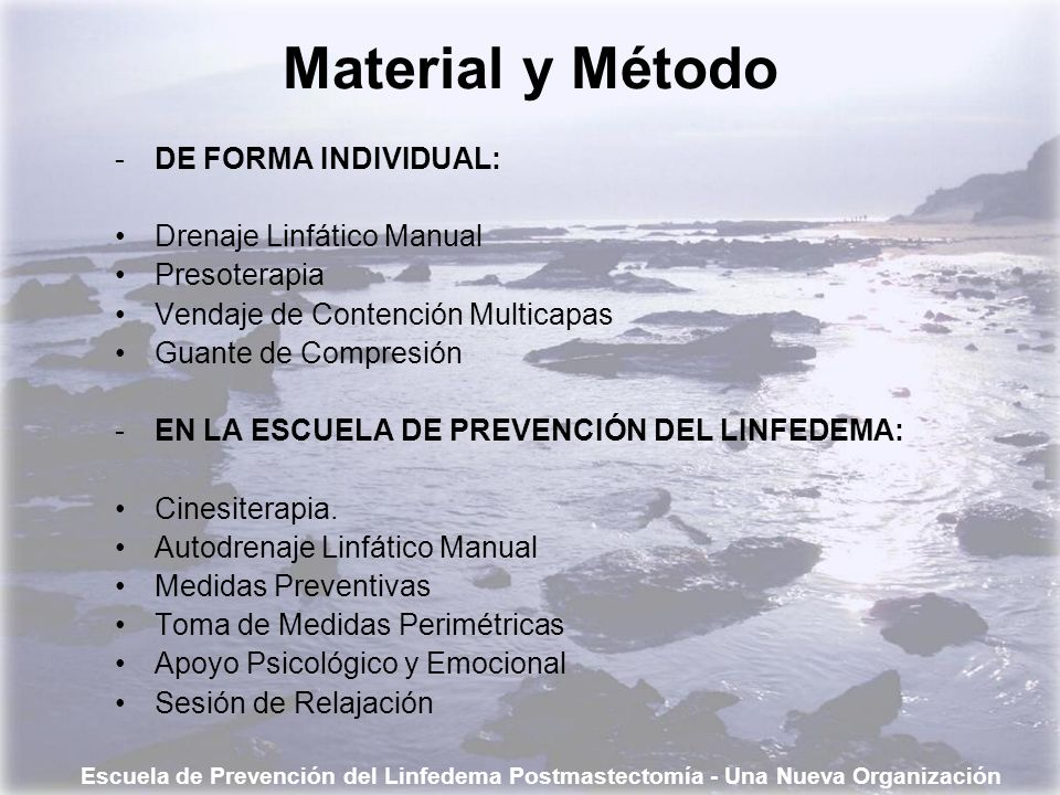 Material y Método DE FORMA INDIVIDUAL: Drenaje Linfático Manual